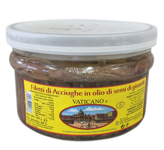 Filetti di acciughe in olio di semi di girasole